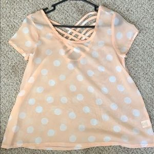 Charlotte Russe Peach with White Poka Dot Top